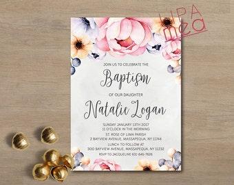 Baptism Invitation, Girl Baptism Invitation Printable, Christening Invitation, Printable baptism Invite, Floral Baptism Invitation Boho