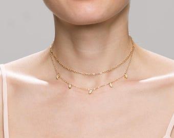 Oval CZ Dangle Choker & Dainty Halo Bar Chain Choker Necklace Set