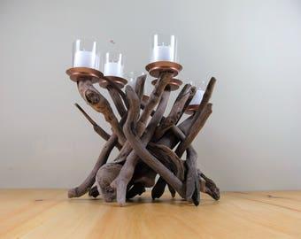 Driftwood Candleholder,Candelabra,Sculpture,Beach Decor,Coastal,Driftwood Decor,Nautical Decor,Wedding Decor,Wood.Centerpiece,Cottage,Rustic