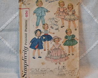 Vintage Simplicity 3217 Sewing Pattern Crafts Shirley Temple Doll Wardrobe Size 19 Inch DIY Sewing Crafts PanchosPorch