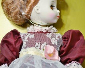 Vintage Horsman Porcelain Doll Yvonne Burgundy Fancy Dress Replica Collectible Doll PanchosPorch