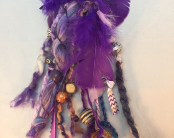 Purple Hair Fall, Beads and Shells, Feathers and Yarn, Wood Beads, Ceramic Beads, French Barrette, Hair Accessory, Short Barrette