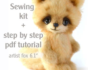 "Sewing kit artist teddy fox 6,1"" with step by step pdf tutorial"