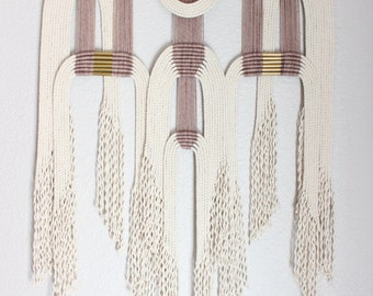 """Macrame Wall Hanging """"plm + wht #2"""" by HIMO ART, One of a kind Handcrafted Macrame, rope art"""