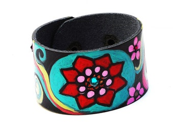 Painted Colorful Flower Black Leather Bracelet Boho Hippie Jewelry FREE SHIPPING