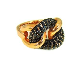 Solid Bronze Sapphires Love Knot Ring Italy Looks Great with Rose Gold