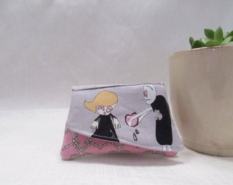 I would give you my heart zombie wallet || small three pocket linen wallet with snap closure