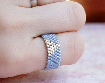 Seed Bead Ring, Peyote Ring, Beaded Ring, Seed Bead Band Ring, Woven Ring, Bead Ring, Delica Ring, Two Color Ring, Gray And Silver Ring