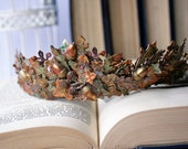 AUTUMN  Woodland Fairytale Hand Painted Tiara Leaves Acorns Forest Fairy Crown Bridal Tiara