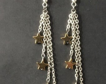 Star Earrings, Multi Star Earrings, Gemstone Star Earrings, Star Drop Earrings, Star Dangle Earrings, Gift Gor Her, Gold Star Earrings, Boho