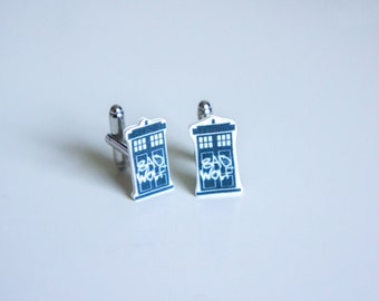 SALE Doctor Who Cufflinks | TARDIS Cufflinks | Doctor Who Jewellery | Bad Wolf | Doctor Who Jewelry | Whovian gift | Gifts for him | Tardis