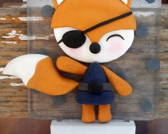 Fox, pirate, clay polymer, led night light, room decoration kids and baby, boy, girl clay