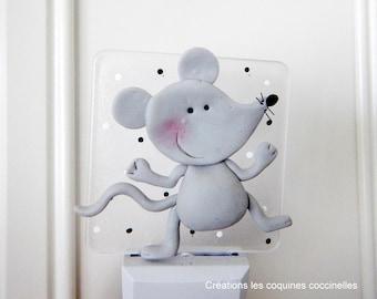 Mouse pilot mouse night light, kids night light decoration, children's room, night light led, polymer clay baby, girl .boy