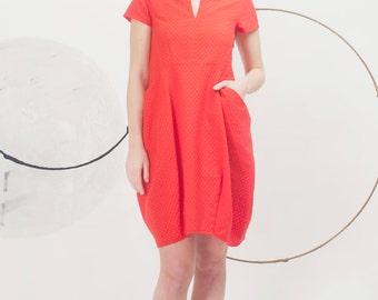 Art 59/17 Abito Tina. Sartorial, Made in Italy, Atelier, Summer,Tulip shape, Dress, Pockets.