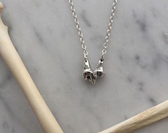 sterling silver fox tooth necklace, tooth necklace, silver casting, thin chain lobster clasp charm