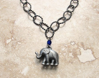 Elephant Necklace with Sapphire Crystal on a Twisted Oval Link Chain, Elephant Pendant, Animal Charm Jewelry, Gift for Elephant Lovers