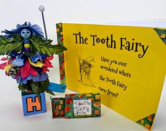 TOOTH FAIRY Kit, Tooth Fairy, Tooth Fairy box and Tooth Fairy Book, explains the tooth fairy, handmade, flower fairy, box under pillow