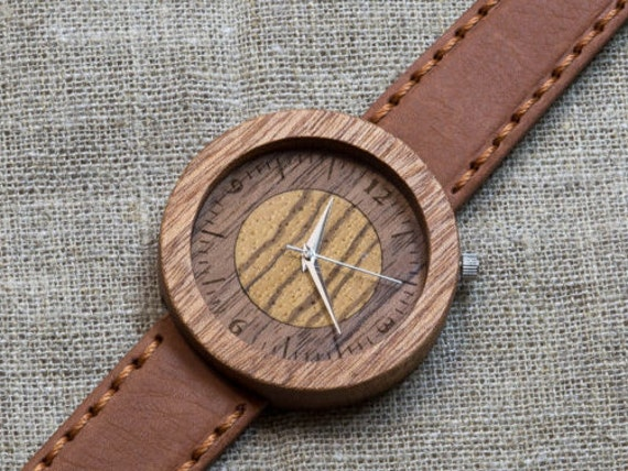 African Sapele  minimal wood watch , Majestic Watch, Terracottas Genuine Leather strap + Any Engraving / Gift Box. Anniversary  gift