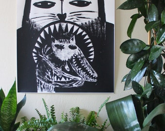 Signed, Limited Edition Mel Sheppard Screen Print 'Cat Eating Wolf' (A2 Size)
