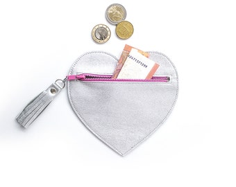 Heart Card Wallet, Silver Heart Pouch, Leather Card Wallet, Pink Zipper Heart Bag, Cute Heart Pouch, Silver Leather Heart