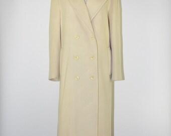 90s cream wool maxi coat / 1990s oversize long coat / minimalist slouch coat