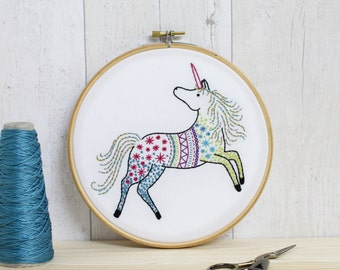 Unicorn Contemporary Embroidery Kit - Embroidery Hoop Art - Modern Embroidery Kit - Hand Embroidery Kit - Craft Kit - Embroidery Pattern