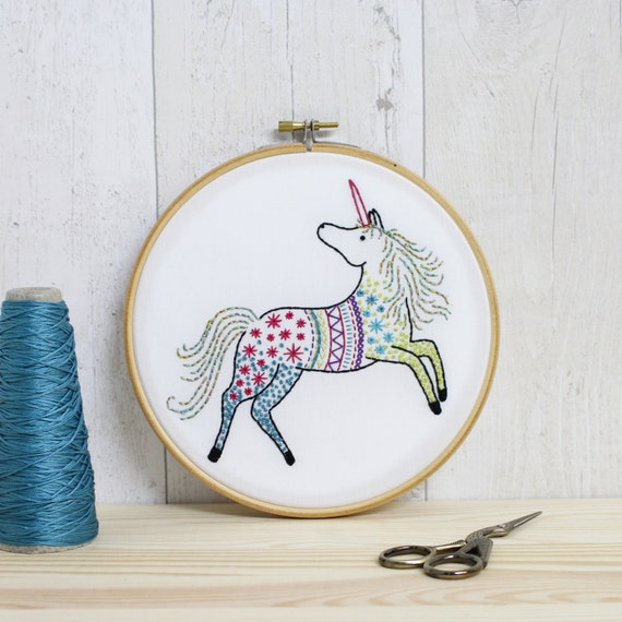 Unicorn contemporary embroidery kit hoop art