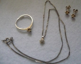 Necklace, ring and earrings. Sterling Silver. Finland. Vintage.
