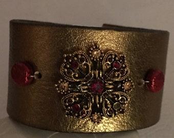 Golden repurposed leather bracelet