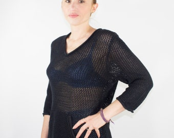 Vintage 90s Fishnet Sweater | Pockets! | Chunky 3/4 Sleeve Black Pullover | Size Large