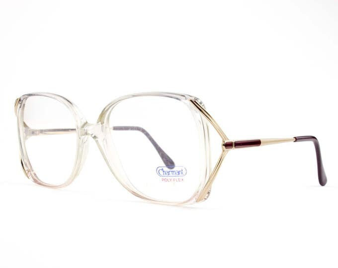 Vintage Glasses   Clear Oversize Eyeglasses with Purple and Gold Temple Arms   NOS 1980s Eyeglass Frame   NOS Deadstock Eyewear - Purp