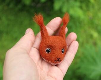 Squirrel brooch; Needle felted brooch squirrel's head