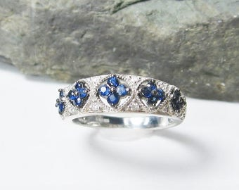 Blue Sapphire and Diamond Sterling Silver Anniversary Band, Size 6