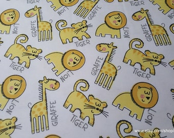 Flannel Fabric - Baby Zoo Animals with Words - By the yard - 100% Cotton Flannel