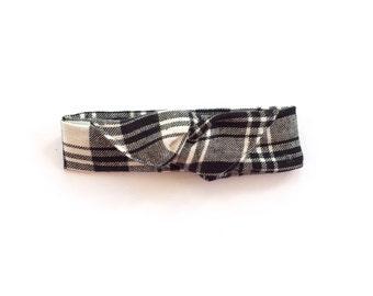 Black Plaid Flannel Boho Wire Twist Headband, Dolly Bow Headband, Women's Headband, Boho Headband, Baby Bow Headband, Toddler Bow Headband