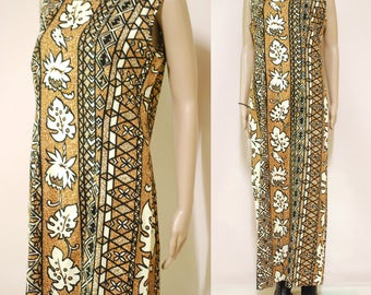 Vintage 80s Dress Boho Tribal Floral Batik Ethnic Long Length Hippie Retro Vtg 1980s Size M