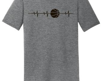 Basketball Pulse Heartbeat Shirt Tri-Blend Men's T-Shirt