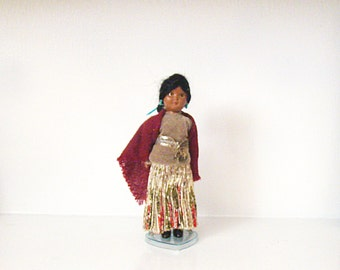 Vintage Doll, Native American Doll, Indian Doll, Knickerbocker Doll, with Heart Stand,  Plastic Doll, Sleep Eyes Doll