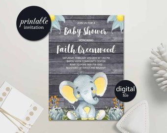 Elephant Baby Shower Invitation Boy Baby Shower Invitation, Jungle Baby Shower Invitation Safari Baby Shower Invitation Printable Spring