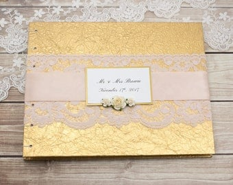Photo Guest Book, Gold Guest Book, Instant Photo Guest Book, Wedding Photo Book, Wedding Guest Book, Gold and Blush, MADE to ORDER