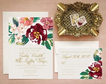 Bohemian Floral Wedding Invitations in Marsala Gold