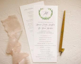 Wreath Wedding Program Printable for Rustic Weddings