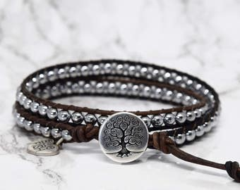 Silver Wrap Bracelet, Boho Wrap Bracelet, Wrap Bracelet, Bracelet Wrap, Tree of Life Button, Beaded Wrap Bracelet, Layering Bracelet