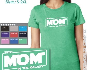 BEST MOM In the Galaxy - Ladies TriBlend Crew Neck Tee - Star Wars