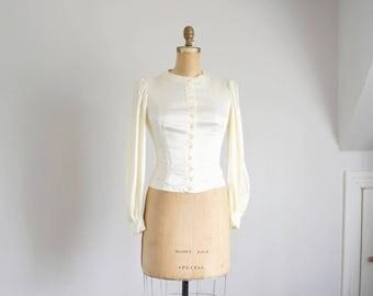 70s ivory satin poet sleeve blouse