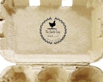 Fresh eggs stamp - Custom rubber stamp - chicken & flower -  Just Laid - Handmade - Coop Laurel Rubber Stamp Pre-inked Stamp R649