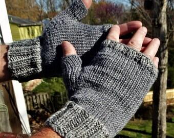 Fingerless Gloves Men's Handknit Light Gray Merino Wool Gloves With Tonal Wool & Nylon Cuffs Fingerless Gloves Handwarmers Men's Knit Gloves