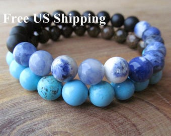 Turquoise, Sodalite, Bronzite and Matte Onyx Bracelet Set for Men, Stacking Bracelet, Layering Bracelet, Beaded Bracelet, Gift for Men