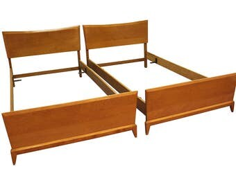 pair mid century danish modern heywood wakefield twin size champagne bed frames