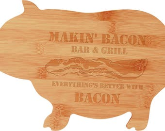 Pig Cutting Board, Cheese Board, House Warming Gift, Wedding Gift, Restaurants, Personalized Bamboo Pig Shape, Bacon, Hog Cutting Board